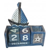 Wooden Calendar Boat Pencil Box