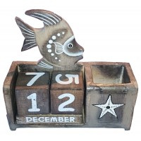 Wooden Calendar Fish Pencil Box